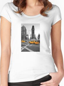 NYC Yellow Cabs Flat Iron Building Women's Fitted Scoop T-Shirt