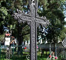 old tombstone gothic cross by mrivserg