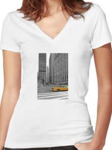 NYC Yellow Cabs Trinity Place Women's Fitted V-Neck T-Shirt