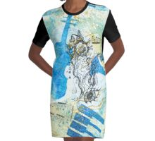 Musical Memories 4 Faux Chine Colle Print  Graphic T-Shirt Dress