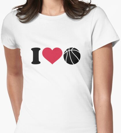 I love Basketball ball Womens Fitted T-Shirt