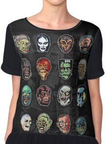 Horror Movie Monster Masks (color) Chiffon Top