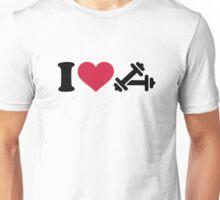 I love barbell dumbbell Unisex T-Shirt