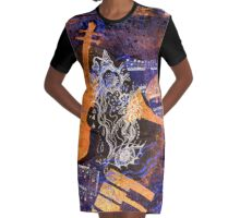 Musical Memories 4 Faux Chine Colle Print Digitized  Graphic T-Shirt Dress