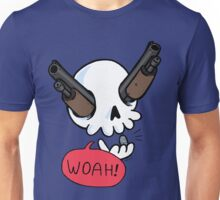 Guns a' Blazin! (skeleton with guns for eyes) Unisex T-Shirt