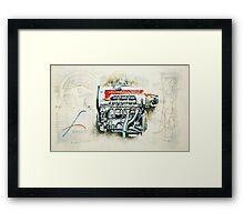 RETRO CUTAWAY ENGINE - ORIGINAL ARTWORK Framed Print