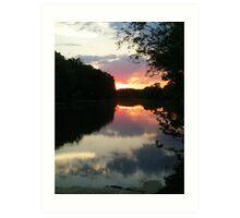 June Sunset over the Passaic River, Wayne NJ USA Art Print