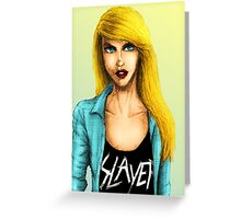 Blonde Metal Chick Greeting Card