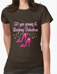 50 YEAR OLD SHOE QUEEN Womens Fitted T-Shirt