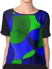 ABSTRACT CURVES-1 (Blues & Greens-3)-(9000 x 9000 px) Chiffon Top