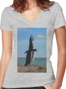 Penguin in Peninsula Valdes - Patagonia Argentina Women's Fitted V-Neck T-Shirt