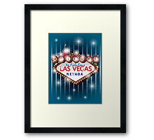 Welcome to fabulous Las Vegas Nevada sign in blue background, vector Framed Print