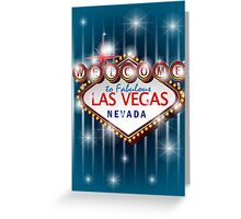 Welcome to fabulous Las Vegas Nevada sign in blue background, vector Greeting Card