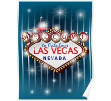 Welcome to fabulous Las Vegas Nevada sign in blue background, vector Poster