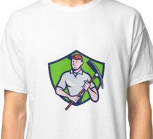 Construction Worker Pickaxe Crest Cartoon Classic T-Shirt