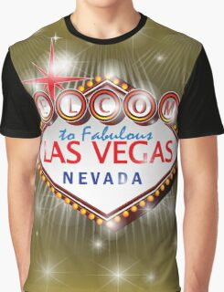 Welcome to fabulous Las Vegas Nevada sign in gold background, ve Graphic T-Shirt
