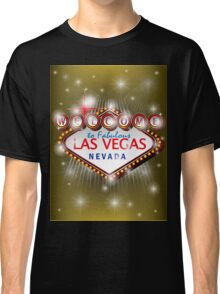 Welcome to fabulous Las Vegas Nevada sign in gold background, ve Classic T-Shirt