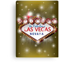 Welcome to fabulous Las Vegas Nevada sign in gold background, ve Canvas Print