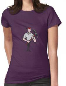 Construction Worker Pickaxe Cartoon Womens Fitted T-Shirt