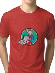 Man Holding Empty Open Suitcase Circle Cartoon Tri-blend T-Shirt
