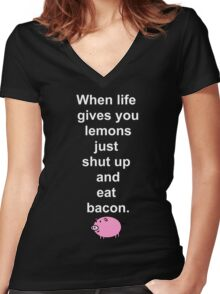 Shut up and eat bacon - 2 Women's Fitted V-Neck T-Shirt