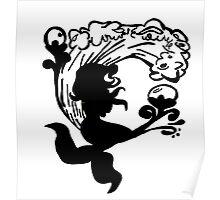 BW Mermaid Sillhouette Poster
