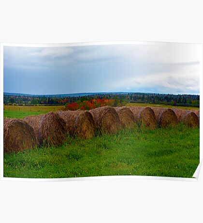 Hay Stacks in Fall Poster
