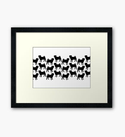 Pug Pattern Framed Print