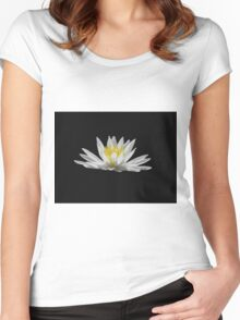 Water Lily on Black Women's Fitted Scoop T-Shirt