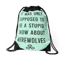 Stupid Werewolves (black and mint) Drawstring Bag