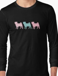 Pastel Pugs Pattern Long Sleeve T-Shirt