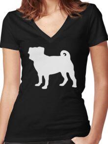 White Pug Women's Fitted V-Neck T-Shirt