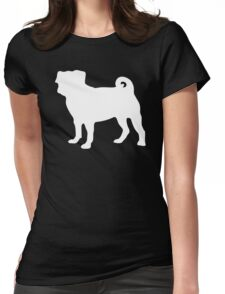 White Pug Womens Fitted T-Shirt