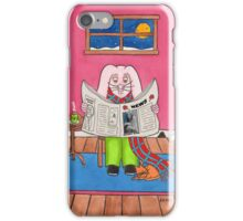 Rabbit Reading 'Briony Ryan News' iPhone Case/Skin