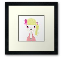 Beautiful Blond Girl isolated on White Framed Print