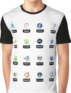 linux distributions set stickers /more Graphic T-Shirt