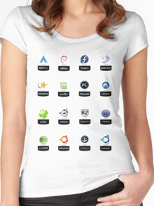 linux distributions set stickers /more Women's Fitted Scoop T-Shirt