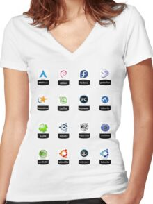 linux distributions set stickers /more Women's Fitted V-Neck T-Shirt