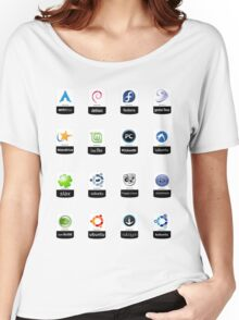 linux distributions set stickers /more Women's Relaxed Fit T-Shirt
