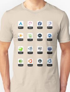 linux distributions set stickers /more Unisex T-Shirt