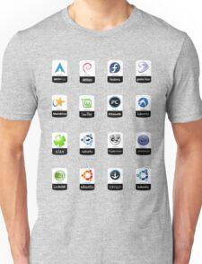 linux distributions set stickers /more Unisex T-Shirt