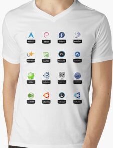 linux distributions set stickers /more Mens V-Neck T-Shirt