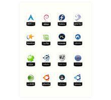 linux distributions set stickers /more Art Print