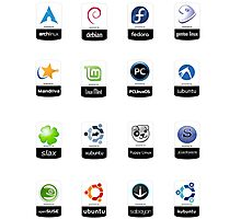 linux distributions set stickers /more Photographic Print