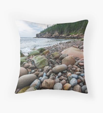 Acadia Beach Rocks Throw Pillow