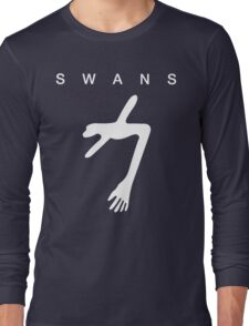 Swans - The Glowing Man white on black Long Sleeve T-Shirt