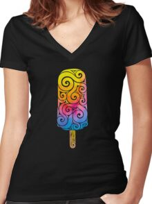 Swirly Popsicle Women's Fitted V-Neck T-Shirt