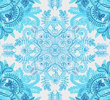 Symmetrical Pattern in Blue and Turquoise by micklyn