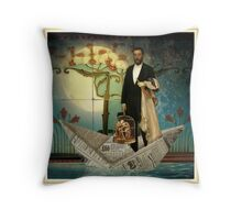Swimming in the Mainstream Throw Pillow