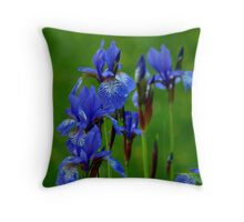 Blue Flower in the Rain Throw Pillow